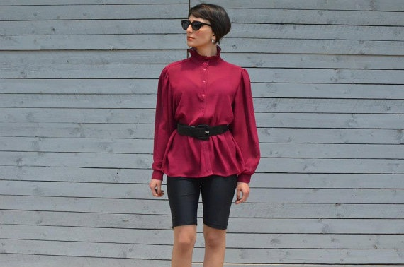 Burgundy blouse with victorian collar by RoaringRetro on Etsy, $35.00