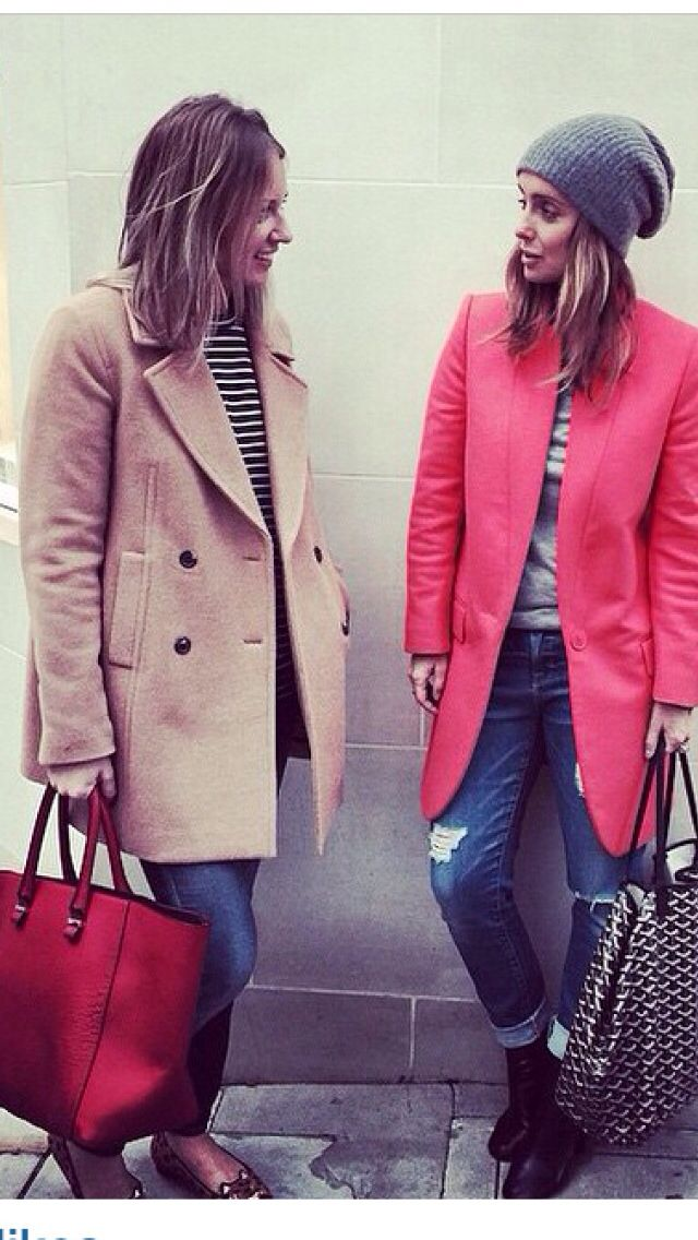 Pink wool jacket with navy Breton top