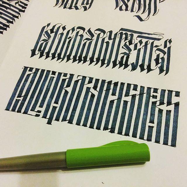 WEBSTA @ grigory_martynenko - Calligraphymasters. Russian vjaz   latin gothic styles.Calligraphymasters. Смесь русской вязи и латинского готического стиля.#calligraphy #russia #vjaz #вязь #каллиграфия  #екб #ekb #ink #parallelpen #moderncyrillic #handlettering #handletters