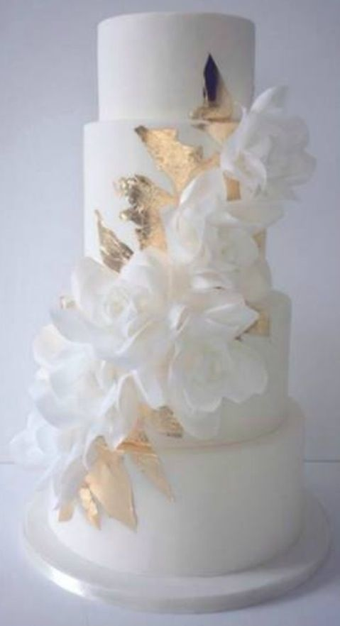 Delicate wafer paper white on white cake with silver leaf  #4tiercake #SilverLeaf #WaferPaper