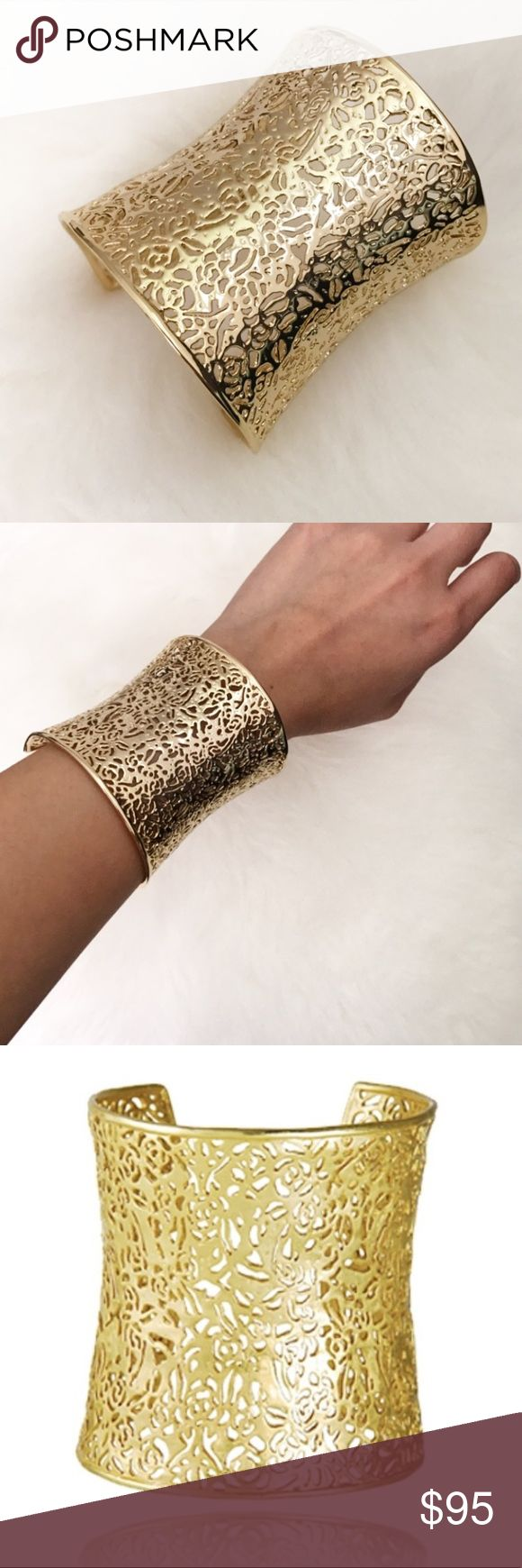 """Kendra Scott Ainsley Cuff Kendra Scott Ainsley Cuff. Never been worn. Comes in original box. 14 karat yellow gold plate. Opening for slip on style. 2 1/2"""" width.  •No Trades  •No PayPal •Instagram: Citrus and Lavender Lane Kendra Scott Jewelry Bracelets"""