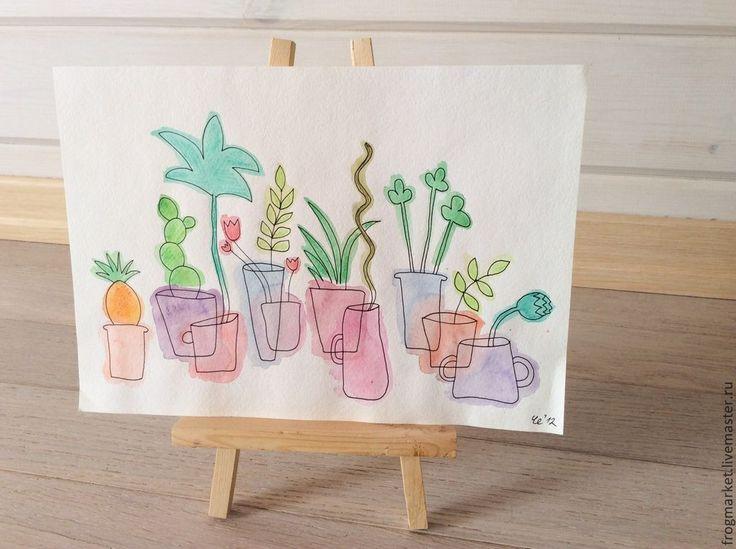 Купить Воздушный огород - бледно-розовый, розовый, голубой, зеленый, растения, горшки, акварель