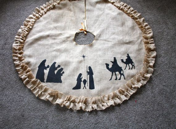 Nativity Burlap Tree Skirt  Ruffled Burlap by YellowHouseCompany, $75.00