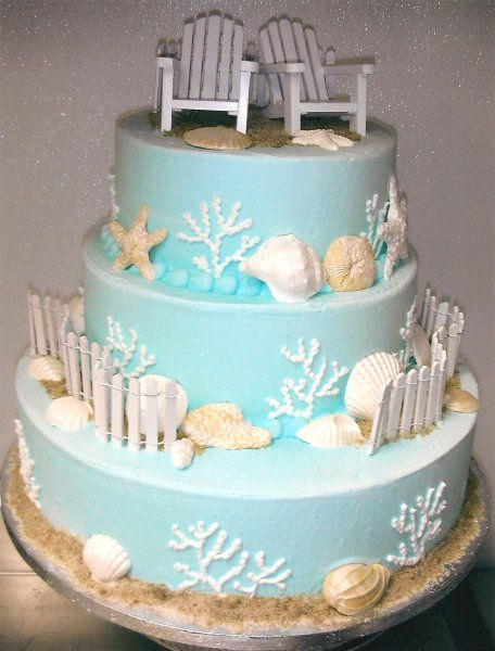 Beach and seashell wedding cake   Cakes by the Sea Little River, SC
