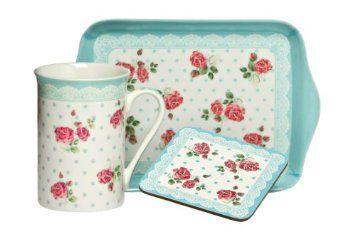 Premier Housewares 3-teiliges Tee-Geschenkset mit Becher, Tablett und Untersetzer, 255ml, blau mit Rosen: Amazon.de: Küche & Haushalt