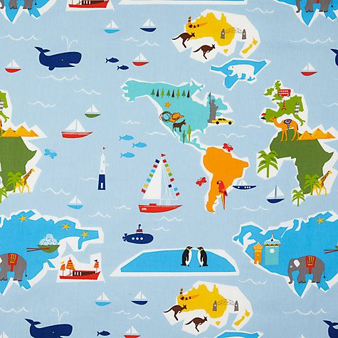 Buy little home at John Lewis Globe Trotter Curtain | John Lewis