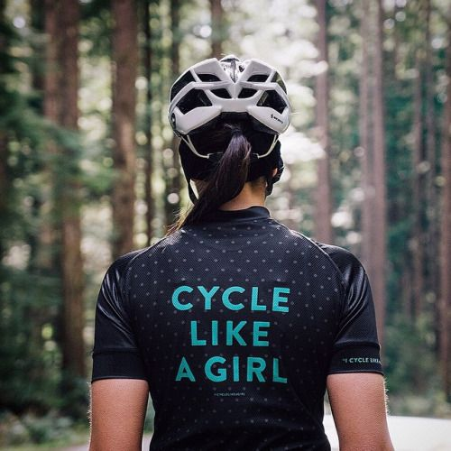 """""""I cycle like a girl, try to keep up"""" - on the sleeve of our new jersey! NOW ON SALE!!!!."""