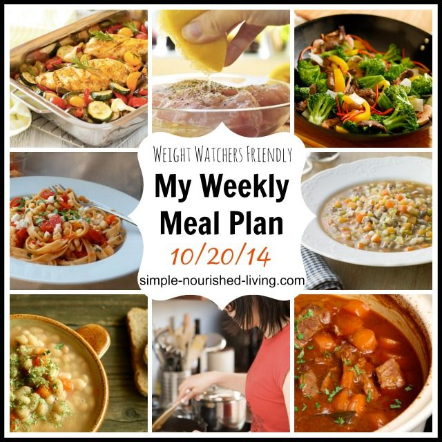 My Healthy Weekly Meal Plan with Weight Watchers Points Plus and Recipes 10/20/14 http://simple-nourished-living.com/2014/10/my-weight-watchers-healthy-weekly-meal-plan-102714/