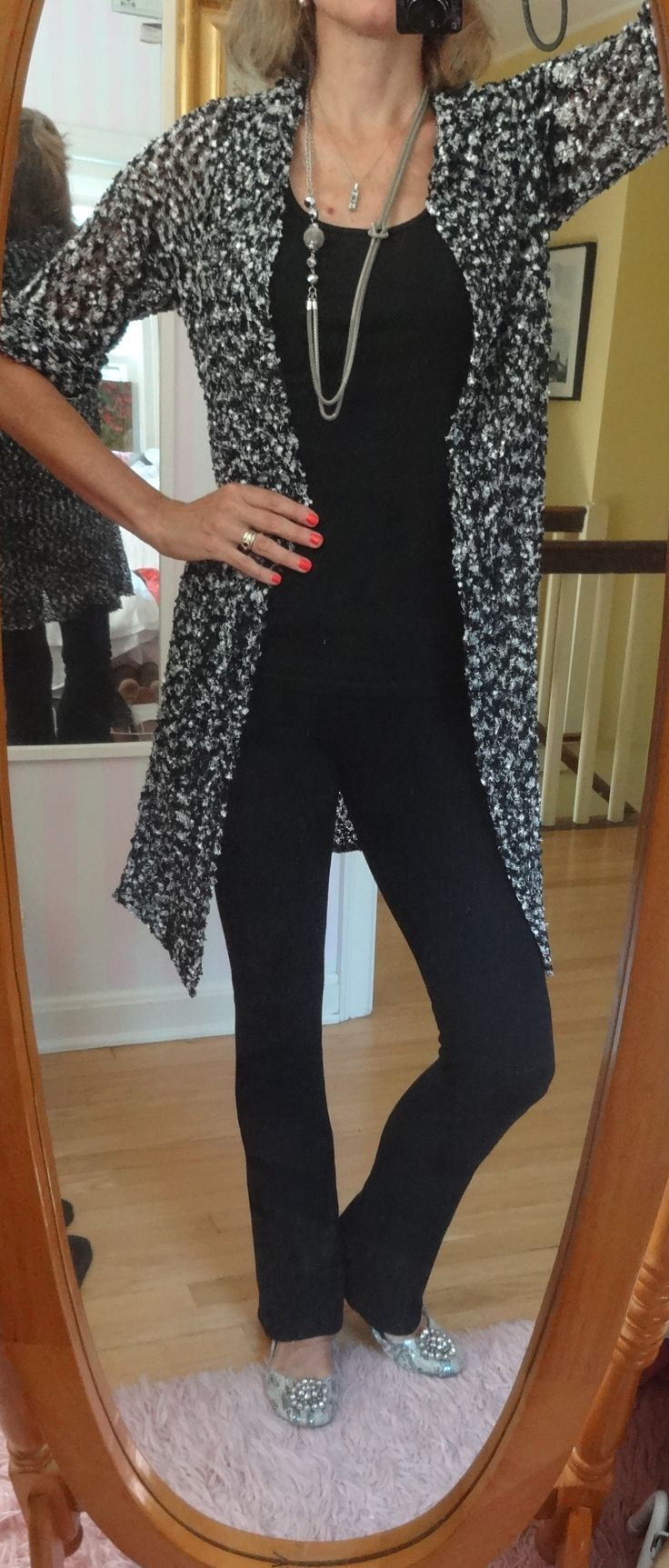 Dressing over 50 - going to the movies - all black with a knit cardigan