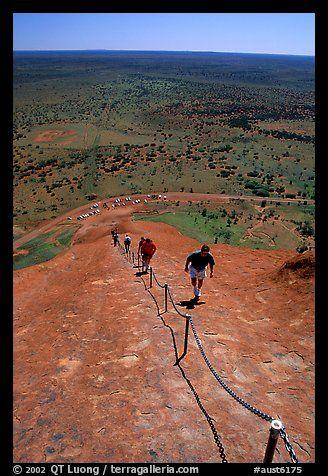 Ascending Ayers Rock. Uluru-Kata Tjuta National Park, Northern Territories, Australia