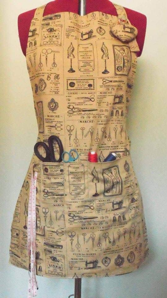 dressmaker's apron, sewing accessories, pockets apron, beige apron, sewing themed apron, mother's gift, crafter's gift, dressmaker accessory