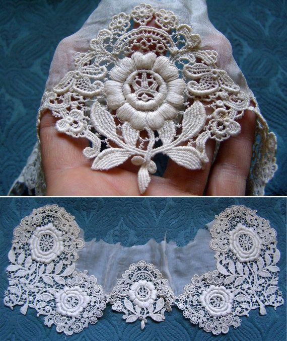 circa 1880's French schiffli cotton lace trim with outstanding floral design very raised embroidery.