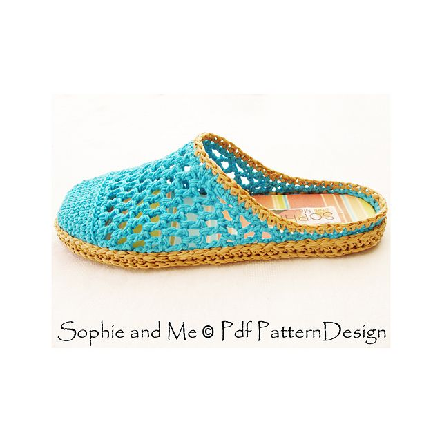 Basic crochet slip-ins with crochet-soles attached, made in raffia!