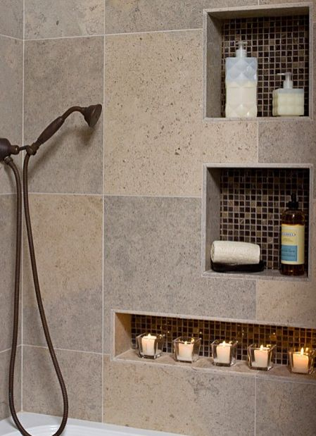 Delightful HGTV: This Sleek Shower Design Includes Built In Niches For Soaps, Shampoos  And Other Bath Essentials. Thereu0027s Even A Space For Votive Candles To Set  The ...