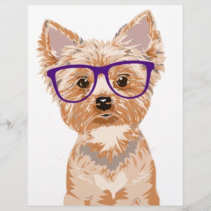 Yorkie Wearing Glasses Zazzle Com In 2021 Yorkshire Terrier Puppies Yorkie Cartoon Dog