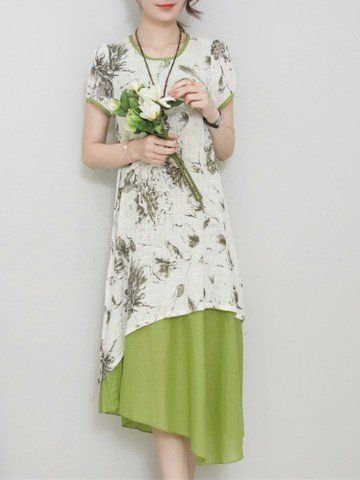 Women Short Sleeve O Neck Floral Printed Fake Two Piece Vintage Dress