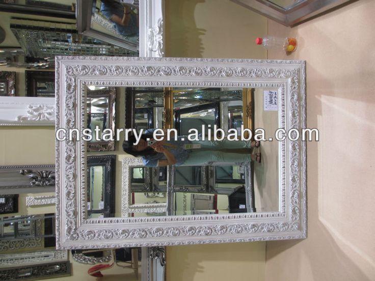 paulownia matériau blanc rectangle en bois sculpté cadre du miroir de salle de bains