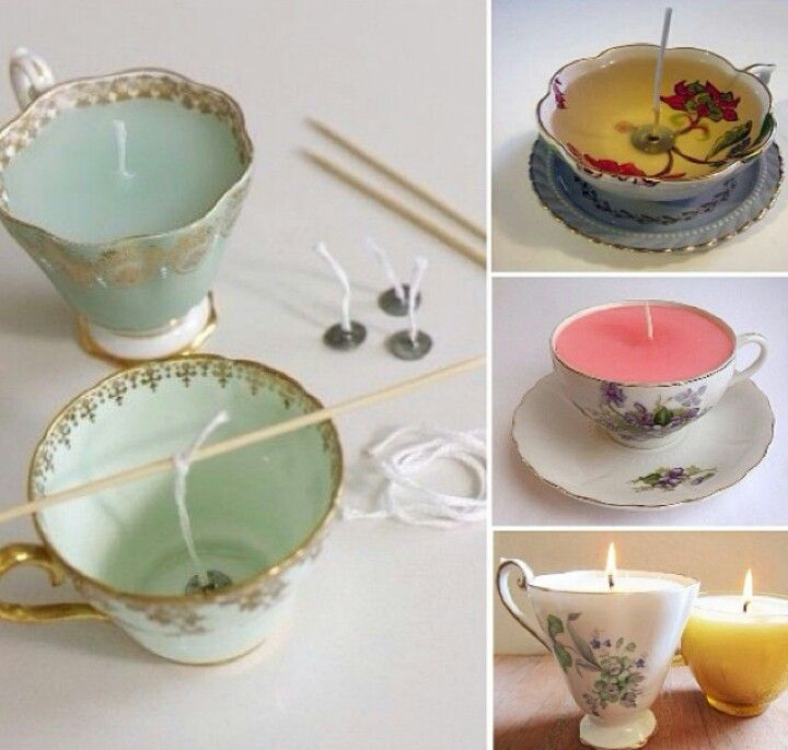 Candles in tea cups. You can get pretty little tea cups from a second hand store and make you own and give as gifts.
