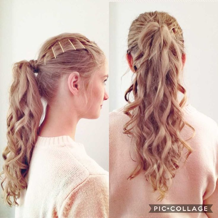 High Ponytail with soft curls and golden Bobypins ;)