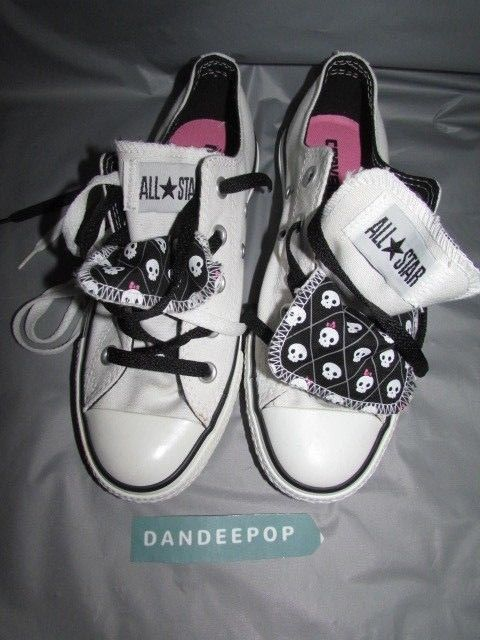 548685755d9ab2 Womens Converse All Star Chuck Taylor Double Tongue Skull Sneakers 51409  Size 6  Converse  LowTop  allstar  chucktaylor  skulls  doubletongue   sneakers ...