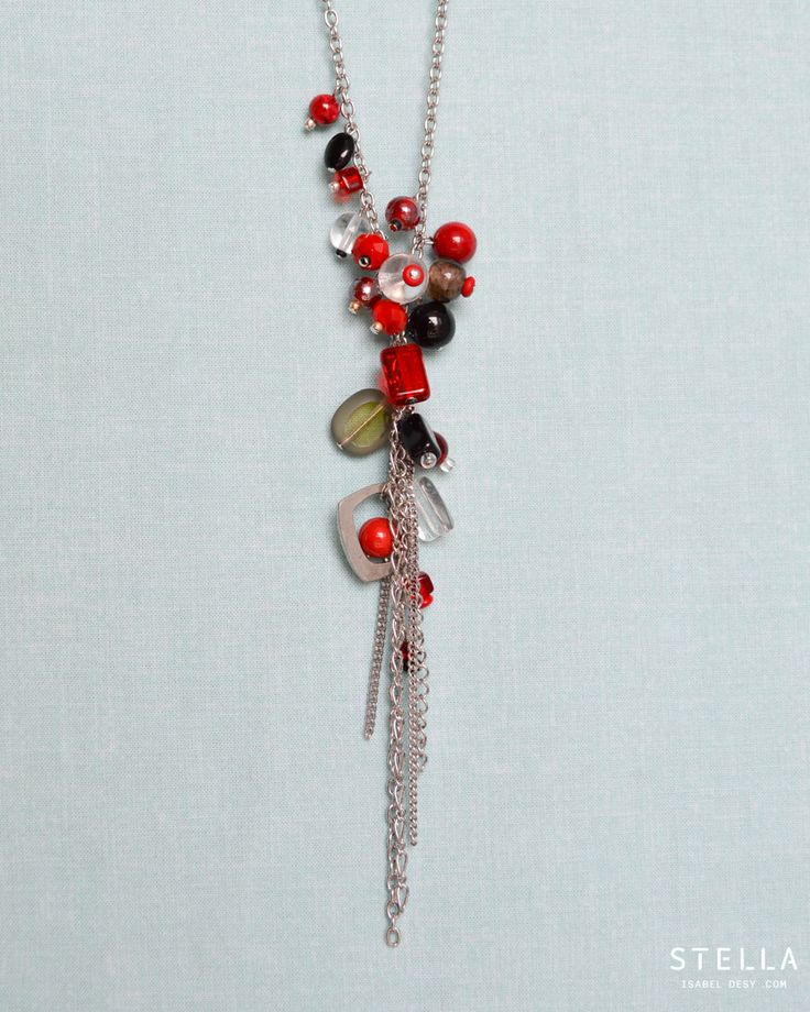 Charms Sautoir Necklace, Glass Beads, Stainless Steel Chain. Red, Clear, Grey, Black by StellaIsabelDesy on Etsy https://www.etsy.com/ca/listing/255288519/charms-sautoir-necklace-glass-beads