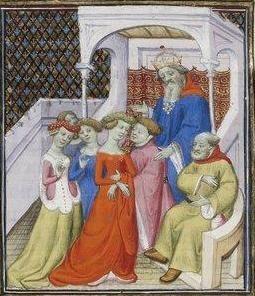 Giovanni Boccaccio, De Claris mulieribus; Paris Bibliothèque nationale de France MSS Français 598; French; 1403, 153v. http://www.europeanaregia.eu/en/manuscripts/paris-bibliotheque-nationale-france-mss-francais-598/en