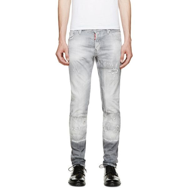 Dsquared2 Acid Grey Cool Guy Jeans ($255) ❤ liked on Polyvore featuring men's fashion, men's clothing, men's jeans, mens gray jeans, mens acid wash jeans, mens grey jeans, mens ripped jeans and mens distressed jeans