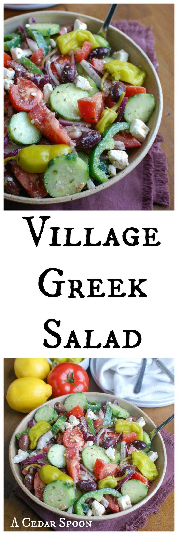 Village Greek Salad - so good. (No tomatoes for me)