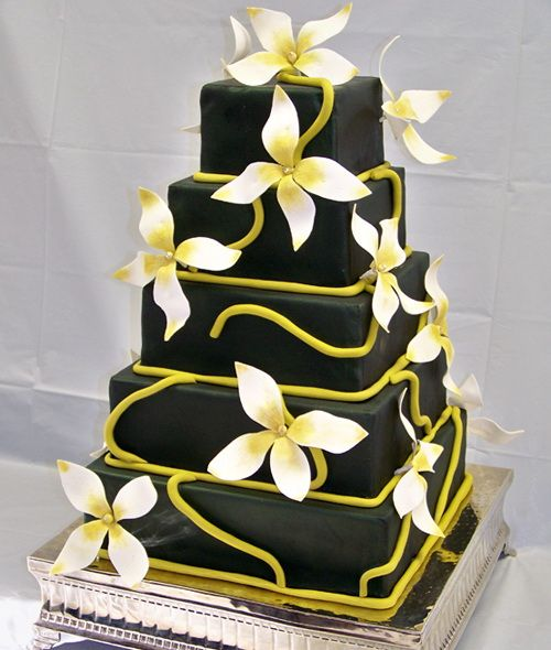 dark square wedding cake yellow flowers Square Wedding Cakes