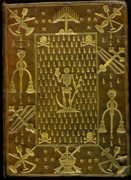 Reliure macabre en maroquin brun 16e siècle, attribuée à Clovis Eve alors relieur du roi, exécutée vers 1586