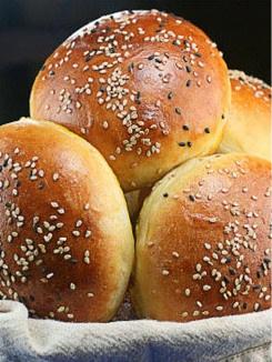 Looks fairly simple - blogger said: The only hamburger bun recipe you'll ever need. Brioche buns.