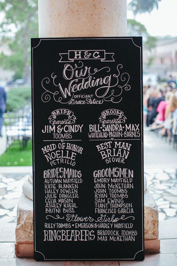 Chalk wedding signage | photo by Kallima Photography | http://www.100layercake.com/blog/2013/07/15/elegant-florida-art-museum-wedding-heather-carson/