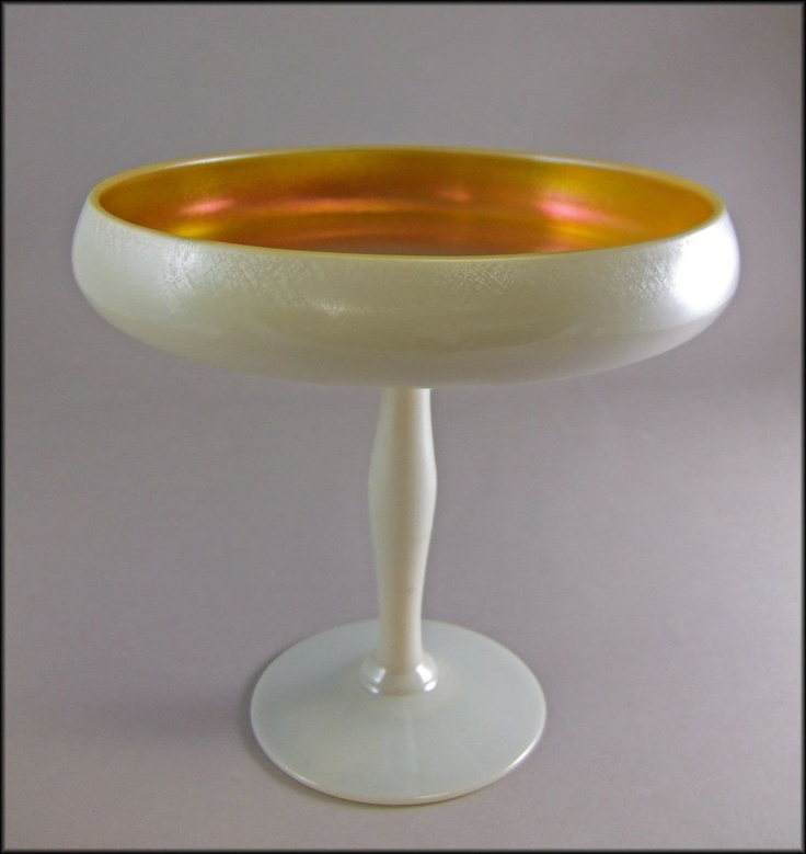 Excellent Circa 1920 Compote Is Steuben Number This 8 Tall X Wide In Softly Iridescent Calcite Glass And Has A Gold Aurene Interior With