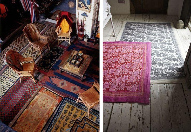 Avec le style bohème tout est permis : on peut mélanger les motifs et les couleurs, superposer les tapis, les aligner... le tout agrémenté de quelques meubles dans des matières naturelles et le tour est joué.