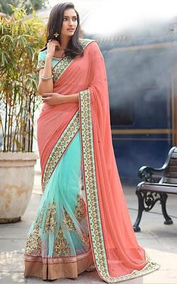Gajri Firozi Georgette Net Embrodired Wedding Saree With Blouse Bollywood Sarees Online on Shimply.com