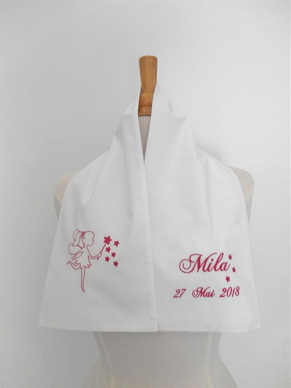 Prix usine 2019 trouver le prix le plus bas chaussures de course Scarf with embroidered fairy girl personalized baby baptism ...