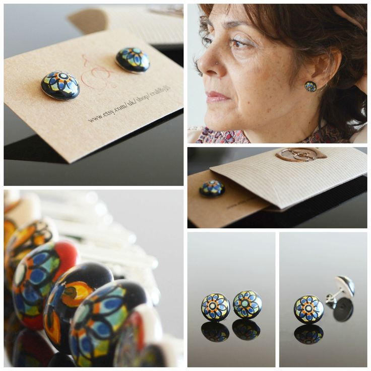 Gorgous blue flower ceramic stud earrings for a woman of any age. They add uniqueness and originality to your attire!