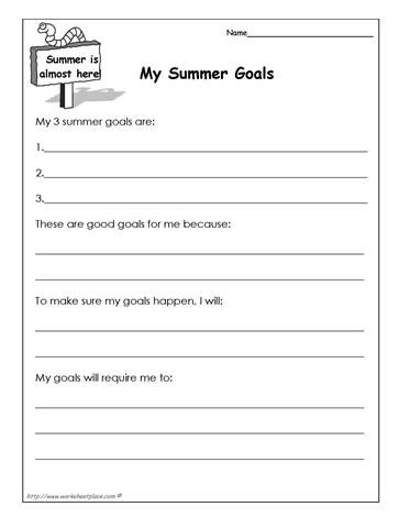 My Summer Goals Worksheet | Teaching/Classroom Design/Odds ...