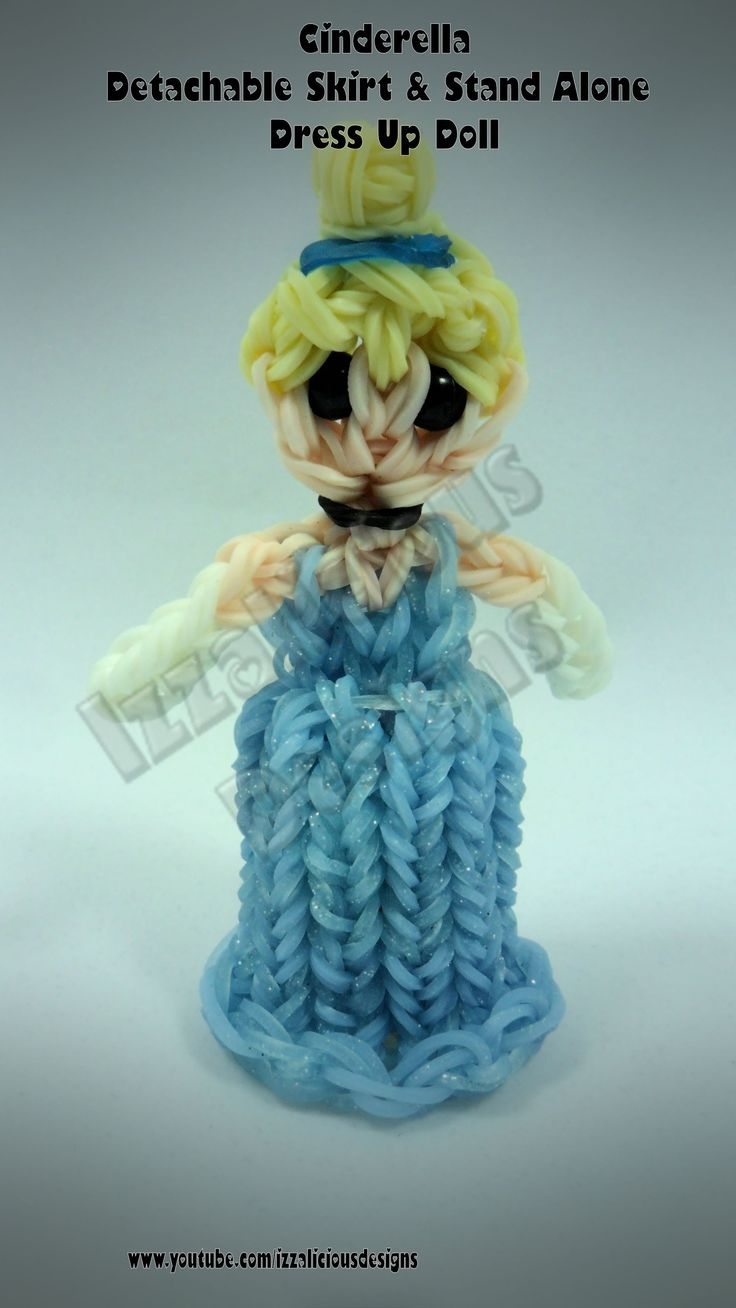 Rainbow Loom Princess Cinderella Charm/Action Figure - Detachable Skirt and Stand Alone Dress Up Doll tutorial by Izzalicious Designs