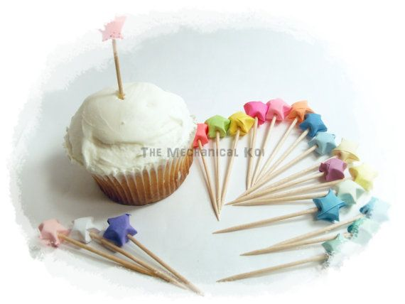 25 Cupcake Toppers Origami Cupcake Picks Party Cake by legoods, $5.99
