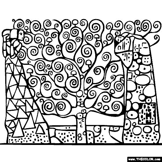Gustav Klimt's Tree of Life Coloring Page