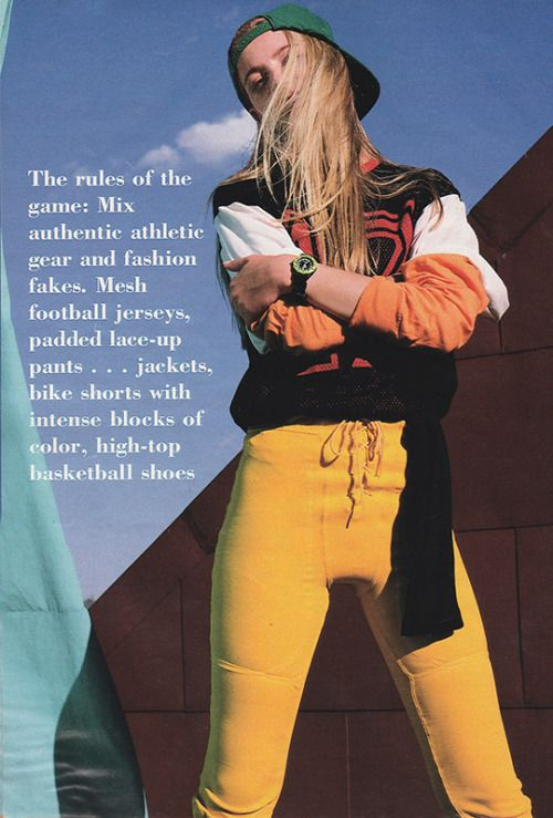 Январь 1991 года. «Футбольные майки Mesh, мягкие штанишки-штаны ... куртки для велосипедных шорт с интенсивными блоками цвета ...»