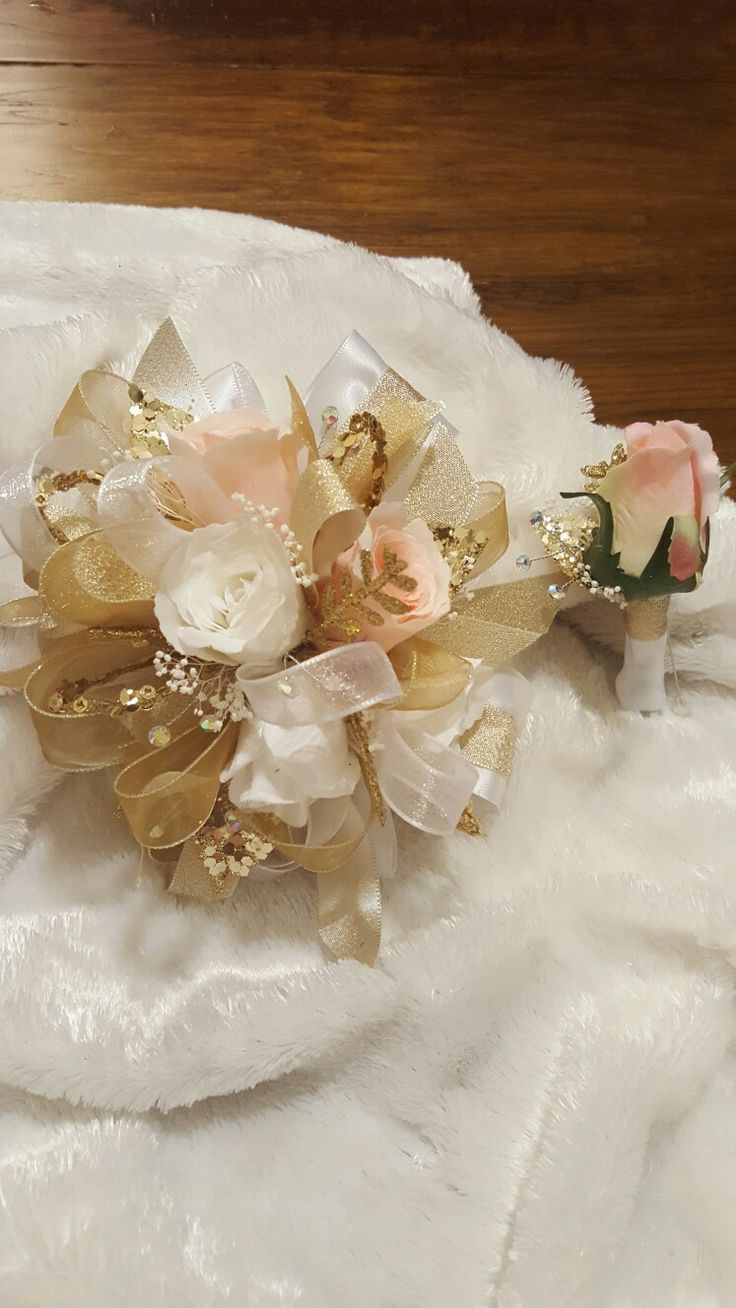Pink white and gold prom corsage set from Hen House Designs www.henhousedesigns.net