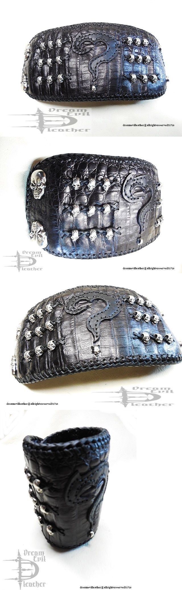 Wristbands 112603: Leather Wristband Cuff Biker Skull Concho Custom Metal Rock Bison Caiman Ooak BUY IT NOW ONLY: $165.0