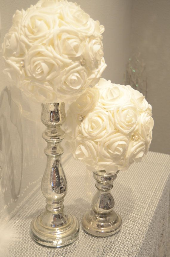 Ivory flower ball with bling pearl brooch real touch foam