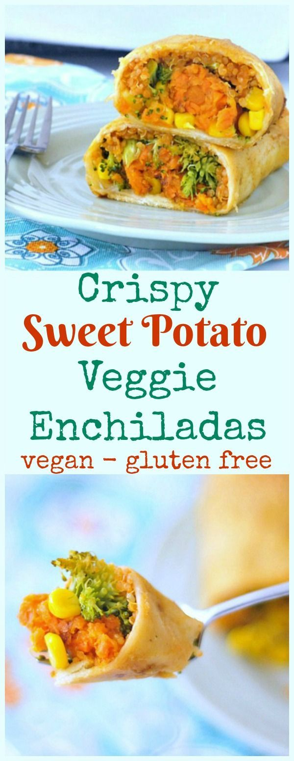 Crispy Sweet Potato Veggie Enchiladas @spabettie #vegan #glutenfree