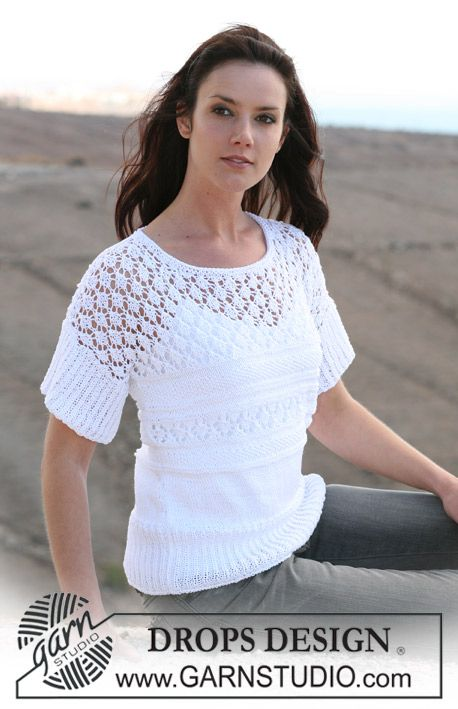 "DROPS top in lace pattern and Rib in ""Muskat"". Size S – XXXL ~ DROPS Design"