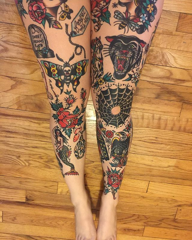 Morgan sent me a photo of her legs, everything you see is healed. No touch ups. She also has the entire back of her left leg finished. She's just recently started collecting from some of my friends! All amazing tattooers. @nate_hudak @azamp_ @antonioroque @myraoh @mikeadamstattoo and some more on their way. I appreciate you so much, thank you for being such a perfect client, and taking such good care of your tattoos. ❤️