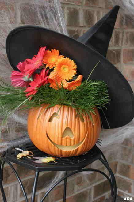 cute Halloween pumpkin witch floral arrangement