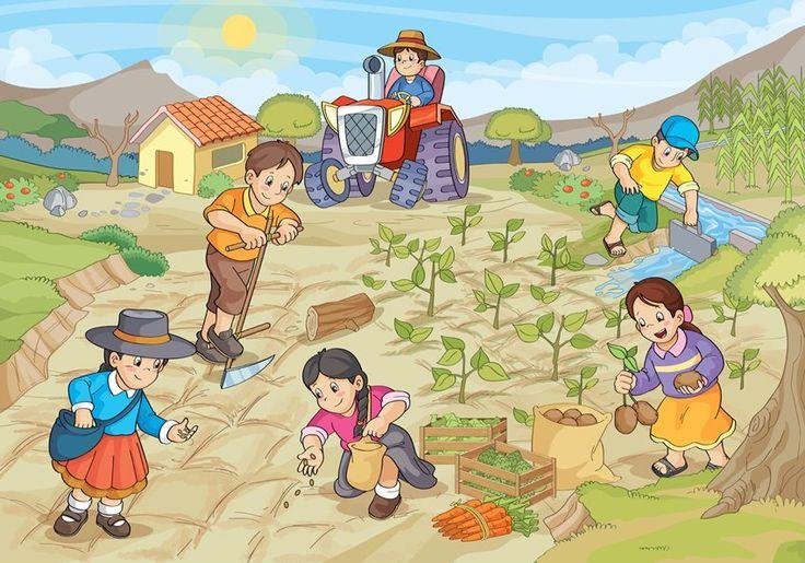 Praatplaat groententuin, voor kleuters / Dia del campesino